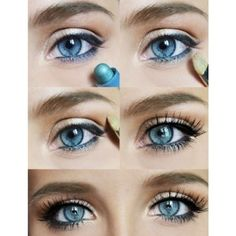 Tutorial Eye Makeup in Steps for Blue Eyes ❤ liked on Polyvore featuring beauty products, makeup, eye makeup, eyes, beauty, blue eye makeup and blue makeup