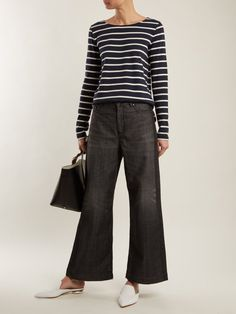 Max Mara Weekend outfit - try in navy/white too Stylish Work Outfits, Work Casual, Simple Outfits, Casual Chic, Stylish Outfits, Fashion Outfits, Dressy Outfits, Fashion Clothes, Flare Jeans Outfit