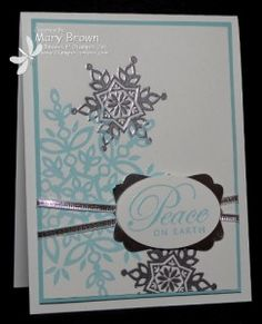 Mary created her CAS card with Festive Flurry, Greetings of the Season, and a trio of silver products: Silver Foil paper, Silver ribbon, & Silver embossing powder. Homemade Christmas Cards, Stampin Up Christmas, Christmas Paper, Christmas 2016, Christmas Ideas, Christmas Crafts, Snowflake Cards, Christmas Snowflakes, Xmas Cards