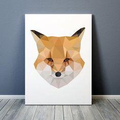 Colorful decor Nursery art Geometric fox poster by animalgeometry