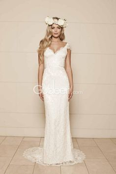 Simple Sheath Cap Sleeves V Neck Backless Floor Length Lace Wedding Dress