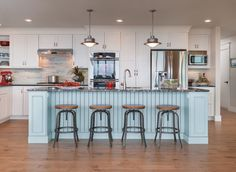 blue kitchen island | Caldwell and Johnson