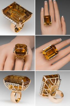 This vintage cocktail ring is massive and magnificent. The citrine weighs approximately 80 carats and is accented on each side by a row of round brilliant diamonds. The ring is crafted of solid 18k yellow gold and the diamonds are individually set in white gold. The ring is in good vintage condition with the citrine showing light overall abrasion and wear. The ring is currently a size 5.5 and we can resize it to fit.