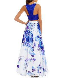 Masquerade Lace Crop Top Floral Skirt Two-Piece Long Dress