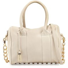 Urban Originals Stevie Studded Satchel Bag ($75) ❤ liked on Polyvore featuring bags, handbags, ivory, studded satchel purse, pink studded handbag, zip zip satchel, satchel handbags and pink satchel purse