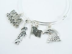 Silver Bangle Bracelet Alex and Ani Style USA by DesignsBySuzze, $15.00