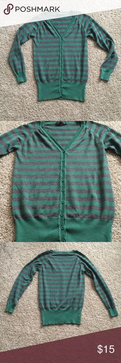 Green & gray sweater Striped button up sweater and cardigan. 55% cotton, 45% rayon Love Culture Sweaters Cardigans