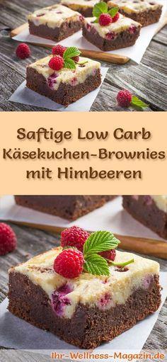 Rezept für Low Carb saftige Käsekuchen-Brownies mit Himbeeren - kohlenhydratarm, kalorienreduziert, ohne Zucker und Getreidemehl