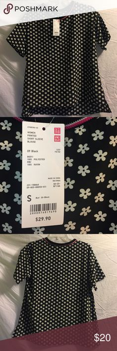 Uniqlo Printed Short Sleeve Blouse Black Flowers Silky brand new Uniqlo Women's Printed Short Sleeve Blouse in 09 Black with flowers! Size Small, bust is 33-35 inch per the tag. Never worn. Uniqlo Tops Blouses