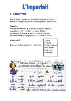 Explication de l'imparfait Learn French Free, Free French Lessons, French Language Lessons, French Tenses, French Verbs, French Grammar, French Expressions, Study French, French Worksheets