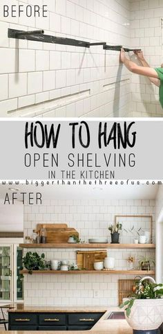 How to Install Heavy Duty Floating Shelves – it's easier than you think! Click t… How to Install Heavy Duty Heavy Duty Floating Shelves, Floating Shelves Kitchen, Glass Shelves, Diy Kitchen Shelves, Open Shelving In Kitchen, Window Shelves, Kitchen Cabinets, Gray Cabinets, Floating Cabinets
