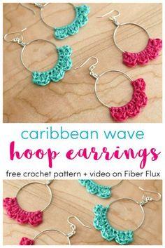 Fiber Flux: Caribbean Wave Hoop Earrings, Free Crochet Pattern + Video Crochet Earrings Pattern, Crochet Jewelry Patterns, Crochet Accessories, Knitting Patterns, Crochet Necklace, Crochet Jewellery, Boho Crochet, Crochet Geek, Crochet Gifts