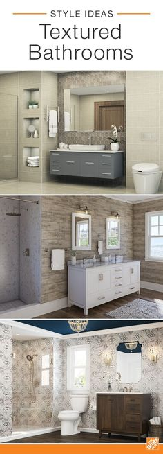 See how these three baths use contrasting textures in inspired ways. We've combined Mediterranean tile with wood-look laminate flooring, a slate backsplash with a sleek vanity, and marble shower tiling with chrome-finished hardware. Explore more stylish b Small Bathroom Sinks, Bathroom Renos, Bathroom Ideas, Master Bathroom, Remodel Bathroom, Bathroom Organization, Frog Bathroom, Bathroom Beadboard, Half Bathrooms
