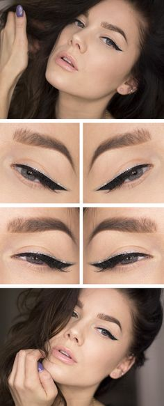 """Today's Look : """"Silver Lining"""" -Linda Hallberg (exactly what the name implies this is such a simple yet sophisticated look... a cat eye with a nude lip, featuring a silver line above the winged black liner) 01/01/14"""