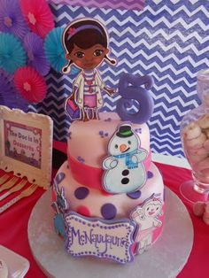 Cool cake at a Doc McStuffins party! See more party ideas at CatchMyParty.com!  #partyideas #docmcstuffins