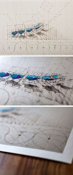 Diathrea Sequence teams artist Rafael Araujo's unique vision of the natural world with an intricate mathematical framework of vivid color and precise lines. Diathrea Sequence was originally created as a pen and ink drawing on canvas with acrylic paint, and is available at The Colossal Shop exclusively as a premium archival print. #colossal