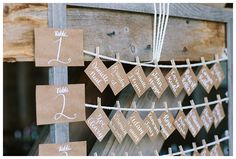 """Another rustic way to do table assignments, this one for a nautical style wedding on a lawn by the bay, so a """"fisherman's"""" type casual rope display. Again, doesn't have to be a wedding--any kind of party! Maine Wedding Venues, Freeport Maine, Nautical Fashion, Nautical Style, Event Lighting, Perfect Couple, Wedding Seating, Party Time, Backdrops"""
