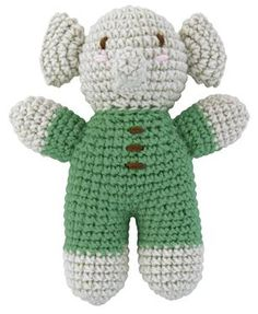 Treat+little+ones+to+this+adorable+crochet+elephant,+the+perfect+pram+or+cot+companion.+Also+available+in+pink+or+blue.