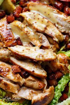 Honey Mustard Chicken Salad With Bacon & Avocado - Cafe Delites Avocado Cafe, Bacon Avocado, Bacon Salad, Avocado Salad, Avocado Food, Avocado Dressing, Honey Mustard Chicken, Snacks Saludables, Cooking Recipes