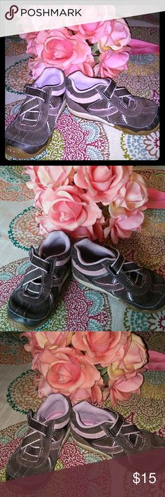 Stride Rite Toddler Girl Size 6 Sneaker Stride Rite Pink and Brown toddler girl sneaker size 6.  Pre-owned with some wear, but still in good shape. Carissa model. Stride Rite Shoes Baby & Walker