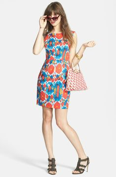 This ikat print stretch cotton sheath dress will be making a lot of appearances this summer. Love it!