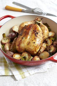 Giada's Whole Roasted Chicken with Potatoes and Leeks   Giada De Laurentiis