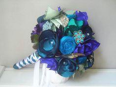 peacock+fabric+flower+bouquet   Bridal Vintage Brooch and Fabric Flower Bouquet in Peacock Blues and ...