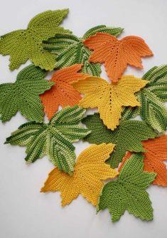 Step by Step Crochet Leaf Crochet Leaf Patterns, Crochet Leaves, Crochet Diagram, Crochet Motif, Crochet Doilies, Crochet Flowers, Knitting Patterns, Crochet Pumpkin, Crochet Fall