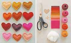 Simple felt hearts that can be made into pins, magnets or hairclips for Valentine's Day