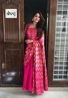 Ambitious Pink Colored Soft Silk Saree with Matching Color silk Blouse. It contained of Printed. The Blouse which can be customized up to bust size This Unstitch Saree Length mtr including mtr Blouse. Indian Dresses, Indian Outfits, Pakistani Outfits, Saree Look, Pink Saree, Modern Saree, Soft Silk Sarees, Cotton Saree, Saree Trends