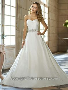 Ball Gown Sweetheart Organza Satin Sweep Train White Beading Wedding Dresses -$244.99