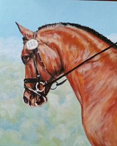 Jazzy at dressage show. Original art by Pamela A Post. #horse portrait, #horse art, #dressage horse, #acrylic painting,