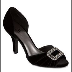 Flash sale heels These black velvet peep toe heels with a beaded buckle embellishment are perfect for any special occasion. These are brand new never worn without the box. The heel height is 3 3/8. Worthington Shoes Heels