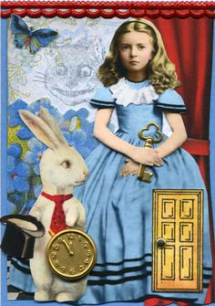 Alice & The White Rabbit Alice In Wonderland Clipart, Alice In Wonderland Illustrations, White Rabbits, Humpty Dumpty, Artist Trading Cards, Altered Books, Atc, Cool Photos, Interesting Photos