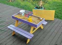 Want to give the kids a sandbox picnic table on the deck? DIY picnic table and sandbox combo! Kids Picnic Table, Play Table, Kids Sand Table, Sand Pit, Ideias Diy, Play Houses, Diy For Kids, Kids Playing, Diy Furniture