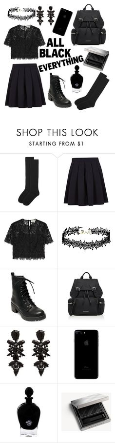 """All Black Everything"" by pinky-panda-corn ❤ liked on Polyvore featuring Accessorize, George, Diane Von Furstenberg, Madden Girl, Burberry and EB Florals"
