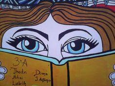 Mural: la magia esta en cada libro. Pagina en facebook: El arte de Jhostin y facebook Jhostin Gomez.