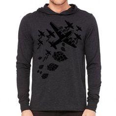 BrewerShirts Original Hop Bomber Long Sleeve Hooded T-Shirt
