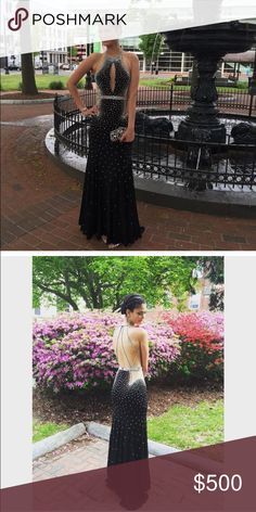 Jovani prom dress Black with nude and colorful diamonds only worn once size 4. Willing to negotiate Jovani Dresses Prom