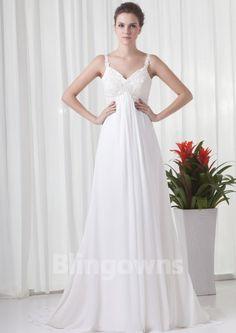 Straps Zipper Chiffon Appliques Sleeveless A-line Sweep White Wedding Dresses