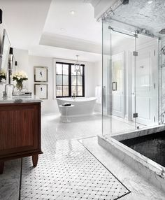 Traditional Master Bathroom with Carrara white 2 inch octagon mosaic tile w/ black dots polished - marble from italy