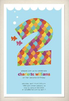 Rainbow Fish invitation by LeaDelaverisDesign on Etsy, $25.00
