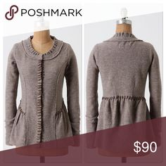 Amthropolgie She's A Classic Sweater Jacket DETAILS Chiffon whipstitching adds an elegant touch to Guinevere's flattering boiled wool layer.   Snap closure  Wool  Dry clean  Imported Anthropologie Sweaters Cardigans