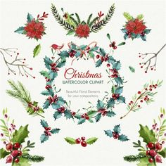 Christmas Poinsettia Wreath Group2 By Tatiana Kost Design On