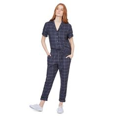 Monoprix - Combinaison pantalon à carreaux - MONOPRIX FEMME