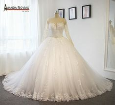 Amanda Novias Actual Photos Nice Back Wedding Dresses 2018 Ball Gown Puffy Bridal Dress-in Wedding Dresses from Weddings & Events on Aliexpress.com | Alibaba Group