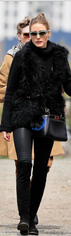 Olivia Palermo: Sunglasses – Wunderkind  Vest – Haute Hippie  Shoes – Stuart Weitzman  Purse – Fendi