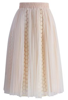Nude Floral Crochet Trimmed Tulle Skirt - New Arrivals - Retro, Indie and Unique Fashion