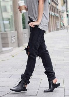 Loose fitting denim + shoes.