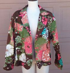 Autumn Blazer Brown Pink Green Aqua Floral Sequin Jacket Cato Woman 18/20W Fall #Cato #BasicJacket #catowoman #plussize #curves